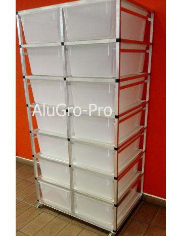 Rack Aluhobby T4 - sedem poschodí bez debien